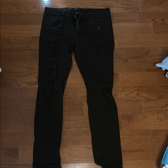 STS Blue Denim - black high wasted ripped jeans
